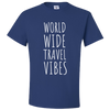 Travel Themed T-Shirt: Worldwide Travel Vibes Royal Blue