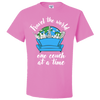 Travel Quote T-Shirt One Couch at a Time White Writing Pink