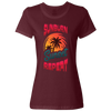 Travel Themed T-Shirt: Sunburn Sunset Repeat Ladies Maroon