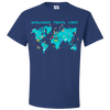 Travel Themed T Shirt: Worldwide Travel Vibes Graphic Royal Blue