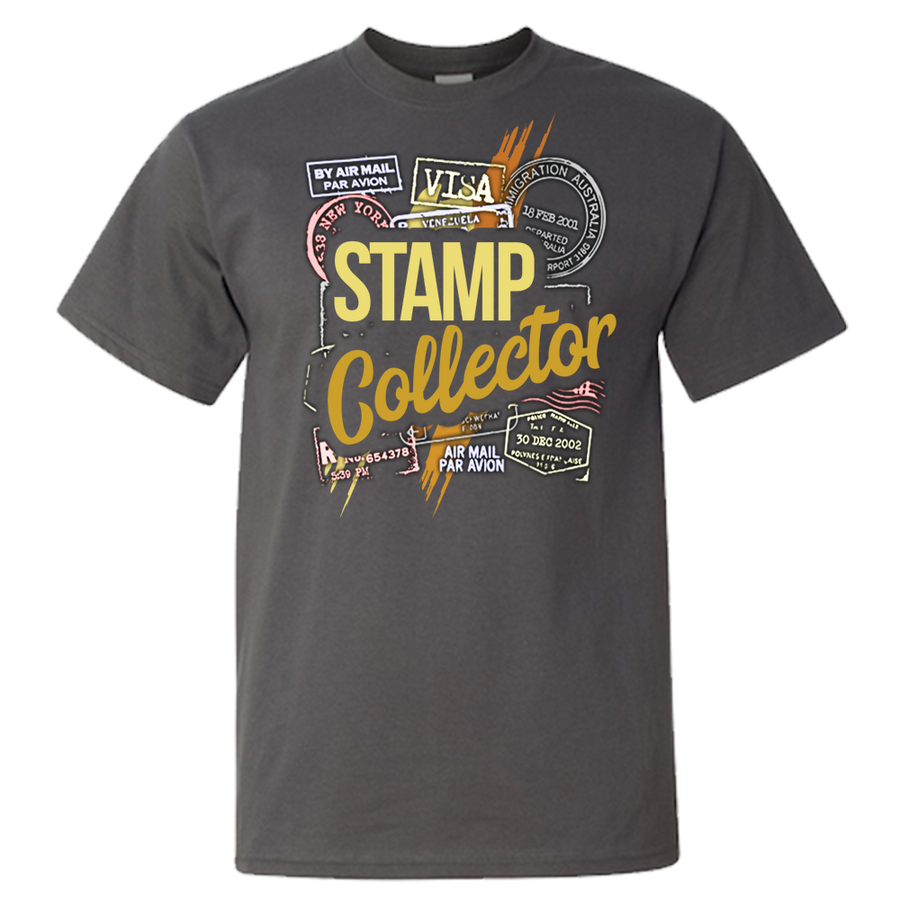 Travel Themed T Shirt: Stamp Collector Black