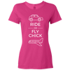 Travel Themed T-Shirt: Ride or Fly Chick Ladies White Words Pink