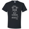 Travel Themed T-Shirt: Ride or Fly Chick Black