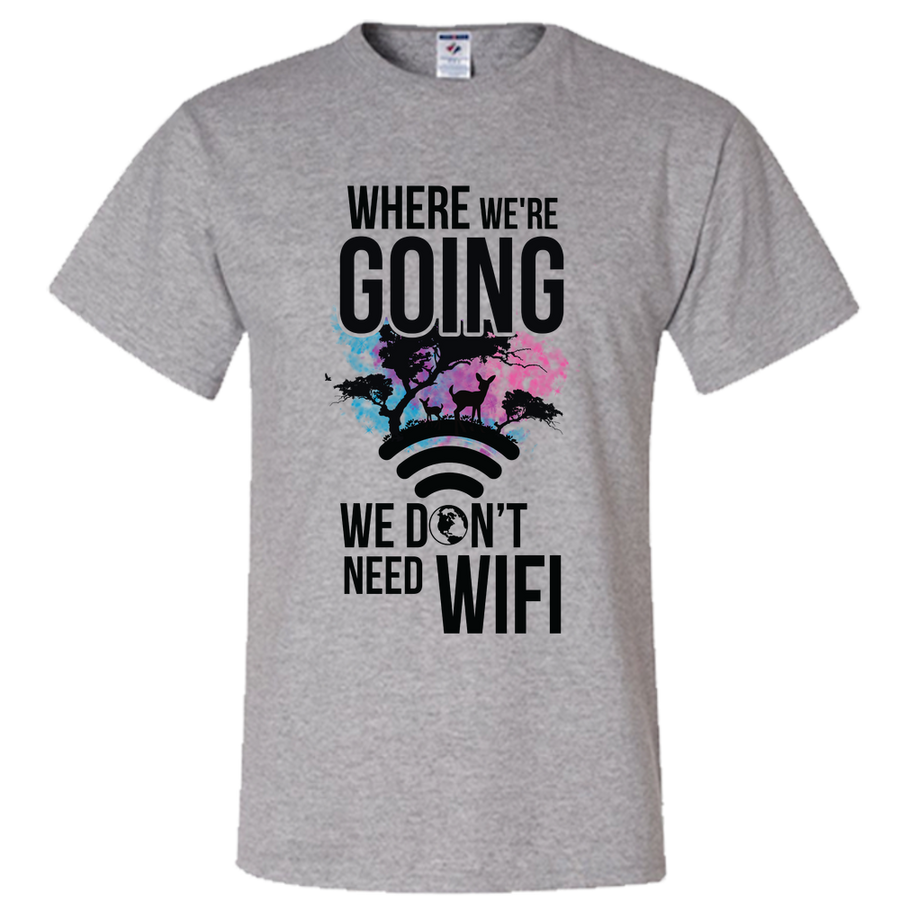 Travel Themed T-Shirt: Dont Need Wifi Yellow