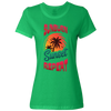 Travel Themed T-Shirt: Sunburn Sunset Repeat Ladies Green