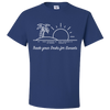 Travel Themed T-Shirt: Trade Desks for Sunsets Royal Blue