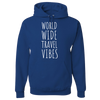 Travel Themed Hoodie: Worldwide Travel Vibes Royal Blue