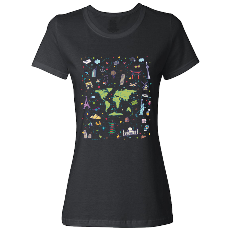 Travel Themed T Shirt: Iconic Places Ladies Maroon