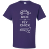 Travel Themed T-Shirt: Ride or Fly Chick Purple