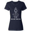 Travel Themed T-Shirt: Pack Light, Travel Far Ladies White Words Navy Blue