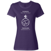 Travel Themed T-Shirt: Tourist vs Traveler Ladies White Words Purple