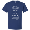 Travel Themed T-Shirt: Ride or Fly Chick Royal Blue