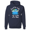 Travel Themed Hoodie: One Couch at a Time White Words Navy Blue
