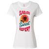 Travel Themed T-Shirt: Sunburn Sunset Repeat Ladies White