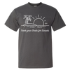 Travel Themed T-Shirt: Trade Desks for Sunsets Gray