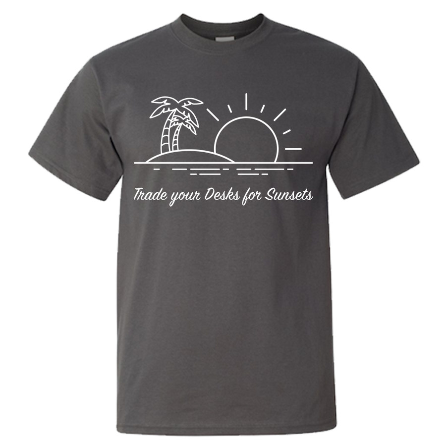 Travel Themed T-Shirt: Trade Desks for Sunsets Black