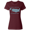 Travel Themed T-Shirt: Travel From Sea to Shining Sea Ladies Maroon