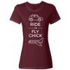 Travel Themed T-Shirt: Ride or Fly Chick Ladies White Words Maroon