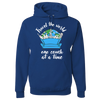 Travel Themed Hoodie: One Couch at a Time White Words Royal Blue