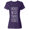 Travel Themed T-Shirt: Worldwide Travel Vibes Womens Purple