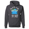 Travel Themed Hoodie: One Couch at a Time White Words Dark Gray