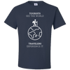 Travel Themed T-Shirt: Tourist vs Traveler Navy Blue