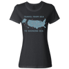 Travel Themed T-Shirt: Travel From Sea to Shining Sea Ladies Black