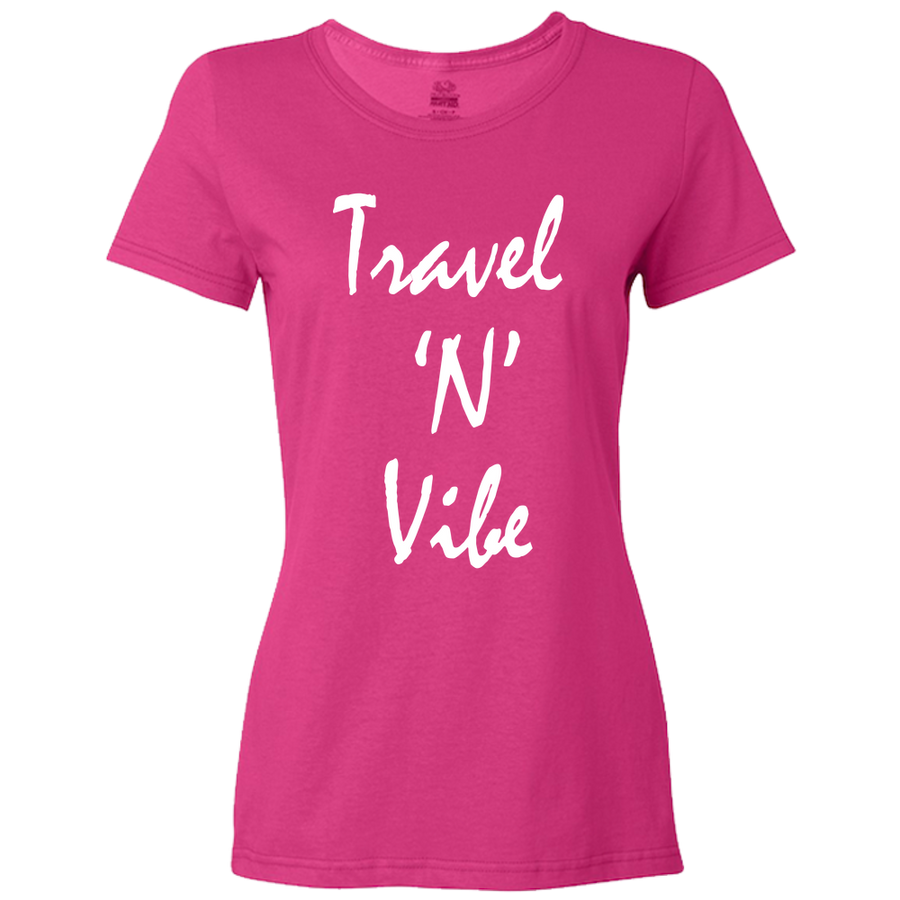 Travel Themed T-Shirt: Travel N Vibe Ladies Royal Blue