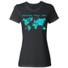 Travel Themed T-Shirt: Worldwide Travel Vibes Graphic Ladies Black