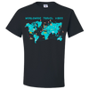 Travel Themed T Shirt: Worldwide Travel Vibes Graphic Black