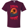 Travel Themed T Shirt: Sunburn Sunset Repeat Maroon