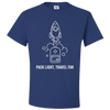 Travel Themed T-Shirt: Pack Light, Travel Far White Words Royal Blue