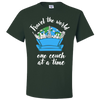 Travel Quote T-Shirt One Couch at a Time White Writing Green