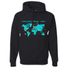 Travel Themed Hoodie: Worldwide Travel Vibes Graphic Black