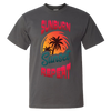 Travel Themed T Shirt: Sunburn Sunset Repeat Dark Gray