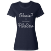 Travel Themed T Shirt: Oasis in Different Places Ladies Navy Blue