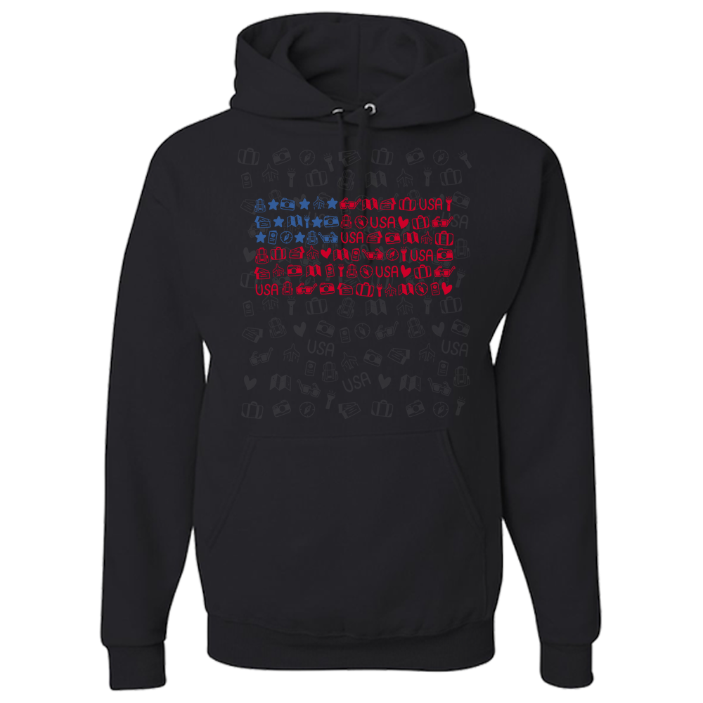 d516d98981d Travel Themed Hoodie  Travel Flag - Nomadic Magic
