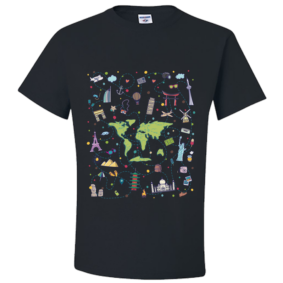 Travel Themed T Shirt: Iconic Places Purple