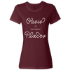 Travel Themed T Shirt: Oasis in Different Places Ladies Maroon