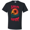 Travel Themed T Shirt: Sunburn Sunset Repeat Black
