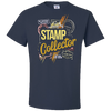 Travel Themed T Shirt: Stamp Collector Navy Blue