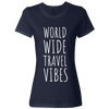 Travel Themed T-Shirt: Worldwide Travel Vibes Womens Navy Blue