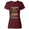 Travel Themed T-Shirt: Escape the Routine Ladies Maroon