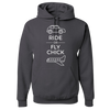Travel Themed Hoodie: Ride or Fly Chick Dark Gray