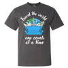 Travel Quote T-Shirt One Couch at a Time White Writing Dark Gray