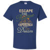 Travel Themed T Shirt: Escape the Routine Royal Blue