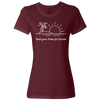 Travel Themed T-Shirt: Trade Desks for Sunsets Ladies Maroon