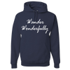 Travel Themed Hoodie: Wander Wonderfully Navy Blue