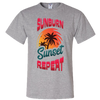 Travel Themed T Shirt: Sunburn Sunset Repeat Light Gray