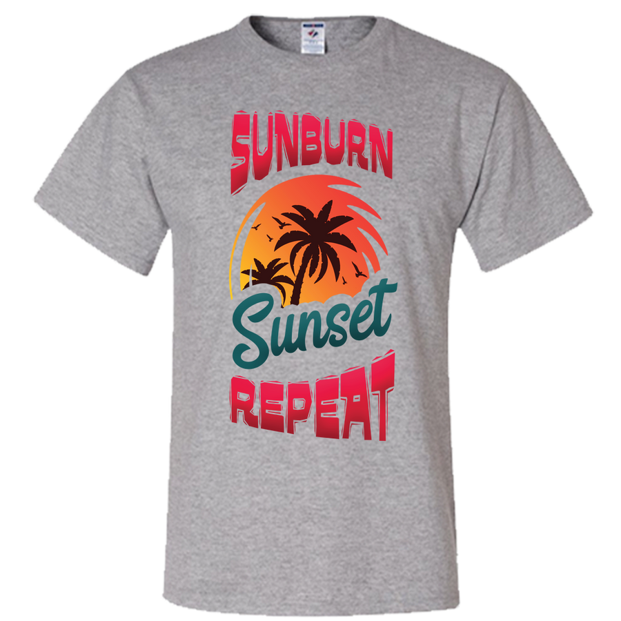 Travel Themed T Shirt: Sunburn Sunset Repeat Purple